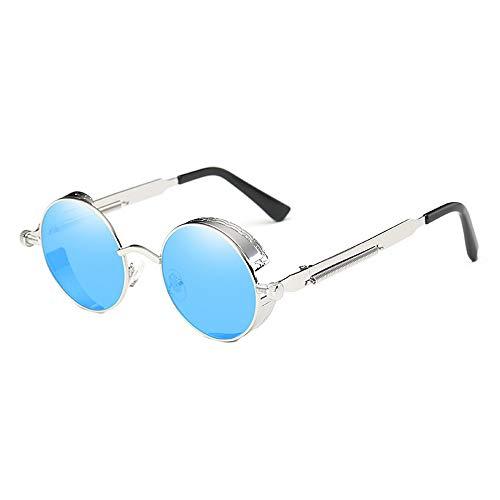 Sebasty Gafas De Sol Estilo Steampunk Clásicas De Europa Y Estados Unidos. Gafas Reflectantes De Moda Retro Unisex UV400 con Protección De Montura Plateada. (Color : Blue)