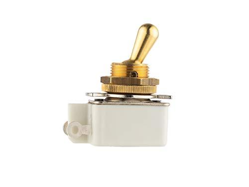 Interruptor de palanca, de un solo polo (SPST), 2 amperios 250 Vac, palanca de latón y casquillo de montaje, terminales de soldadura