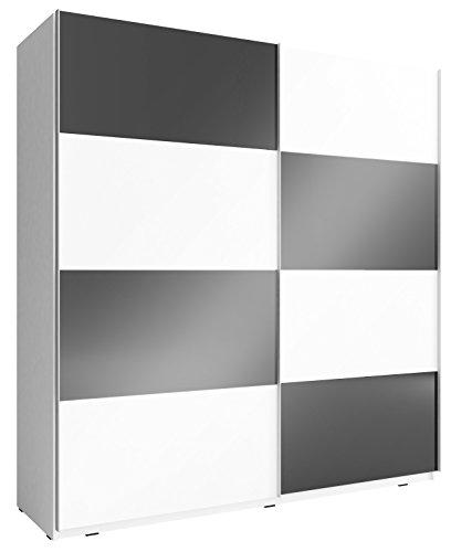 mb-moebel Kleiderschrank Schrank Gaderobe Schiebtüren Schwarz Weiß Hochglanz NELE VIII (NELE Multi VI, 200 cm)
