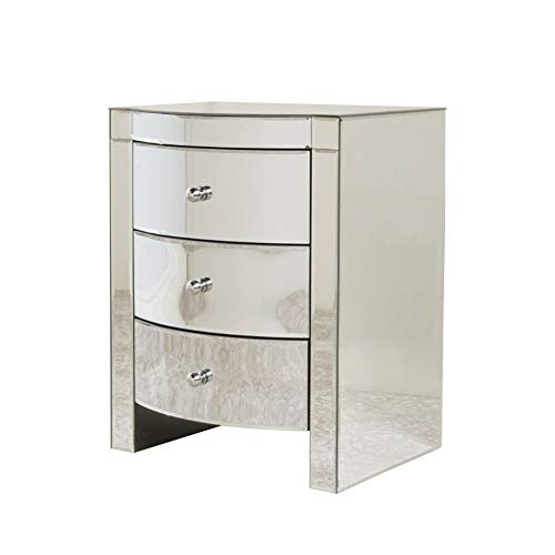 Christopher Knight Home Roxie Mirrored Three-Drawer Side Table, Mirror