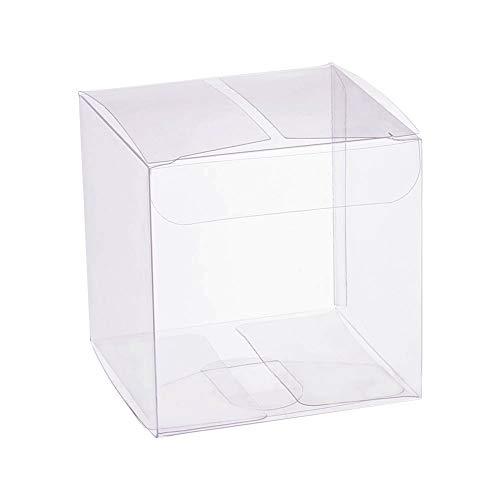BENECREAT 50 Pack Caja Plegable Cajita Plástica 7x7x7cm Envase Transparente de Regalo Contenedor de Dulce Chocolate para Boda Fiesta Cumpleaños