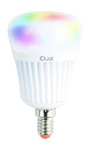 iDual-LED-Leuchtmittel (E14). Fernbedienbar. Warmweiß bis Kaltweiß; Dimmfunktionen; Multicolor-Umgebungs- und Stimmungslicht. 470 lm (äquiv. 40 W).