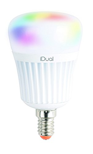 iDual-LED-lampen (E14). Afstandsbediening. Warm wit tot koud wit; dimfuncties; multicolor omgevings- en sfeerlicht. 470 lm (equivalent 40 W).