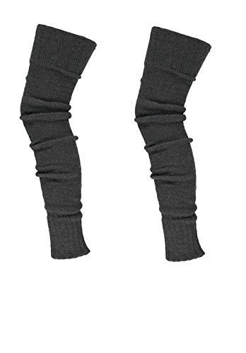 krautwear® Damen Beinwärmer Stulpen Legwarmers Overknees gestrickte Strümpfe ca. 70cm 80er Jahre 1980er Jahre (anthrazit 2x)