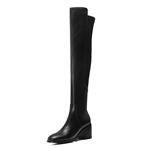 WYX Frauen Stiefel Damen Nehmen Sexy Über-Die-Knie Stiefel Mode Leder Schenkel-Hohe Stiefel Winterschuhe Für Damen,Schwarz,38