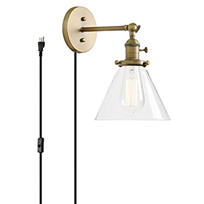 Permo 1-Light Plug in On/Off Switch Wall Sconce with Funnel Flared Clear Glass Shade Vintage Industrial Wall lamp Light Fixture