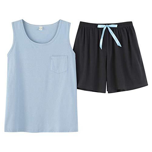 Schlafanzug Frauen Sommer Baumwolle Coole Pyjamas Set Home Kleidung Mädchen Nachtwäsche Weste Shorts Plus Size Solid Comfortable Casual-H_M.