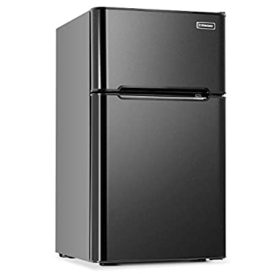 Euhomy Mini Fridge with Freezer,3.2 Cu.Ft Compact Small Refrigerator with freezer 2 Door Mini Fridge Upright for Dorm,Office,Apartment- Food Storage or Drink Beer?Black