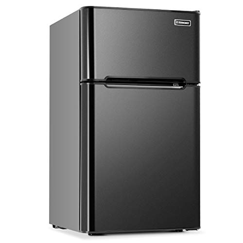 Euhomy Mini Fridge with Freezer,3.2 Cu.Ft Compact Small Refrigerator with freezer 2 Door Mini Fridge Upright for Dorm,Office,Apartment- Food Storage or Drink Beer,Black