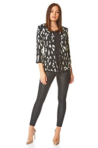 Roman Originals Vrouwen Animal Print Blazer Jacket - Dames Smart Casual Werk Party Dagelijks Luipaard Gedrukt Gekleurde Lichtgewicht 3/4 Lengte Mouw Werkkleding Jersey Jassen
