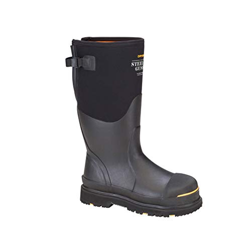 Dryshod Men's Steel-Toe Adjustable Gusset Work Boots, Black/Yellow, 10 (STG-UH)