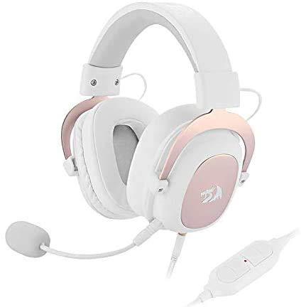 Redragon H510 Zeus Gaming-Headset mit Kabel - 7.1 Surround-Sound - Bezug aus atmungsaktivem Stoff - 53MM-Treiber - Abnehmbares Mikrofon - Immersionskopfhörer für PC/PS4/Xbox One/NS - Rosa & Weiß