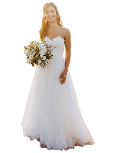 Lace Wedding Dress Sweetheart A-line Long Tulle Country Style Bridal Gowns (US16, White)