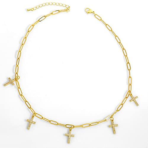 Kkoqmw Collar con Dije de Cruz pavimentada para Mujer, Collar de Pasador de Seguridad con Cadena de eslabones Dorados