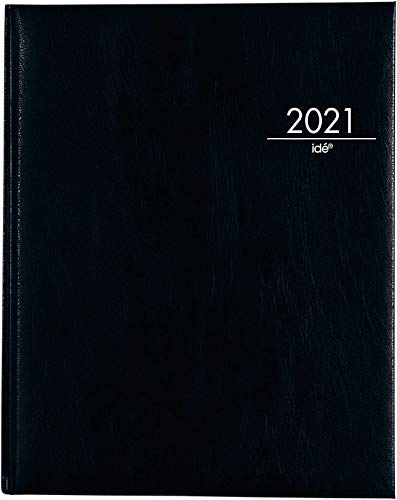 Wochenagenda Buchkalender Managertimer 2021, 1 Woche auf 2 Seiten, Kunstleder-Einband, Kalendarium 2021 mit Registerschnitt 20.8x25.8cm, schwarz