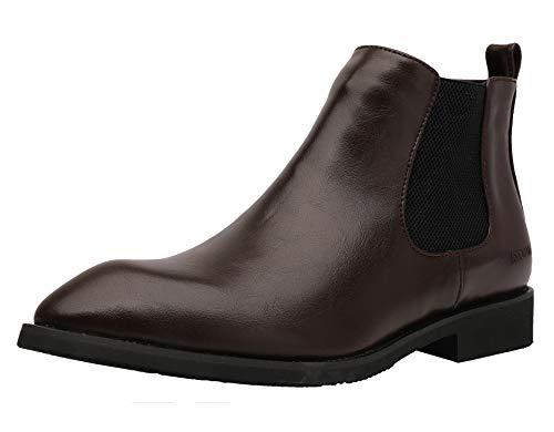 Yaer Herren Stiefel Klassische Chelsea Boots Glattleder Wasserdicht Schuhe Business-Stiefel Abendschuhe(Rotbraun-1,43 Asien)