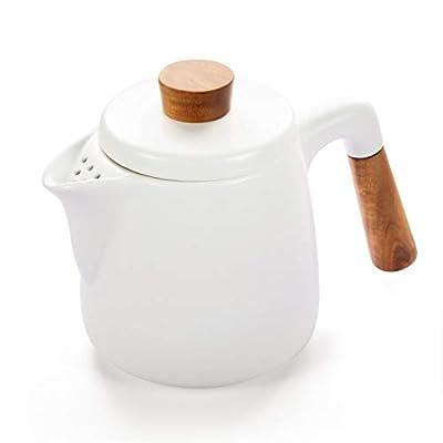 Ceramic Teapot Kettle Set for Loose Leaf Tea, Blooming Tea. Porcelain Teapots Brewer, 1000ml/34oz, White