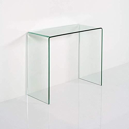 Tavolino consolle in Vetro curvato STEASY L.80 P.35 H.76