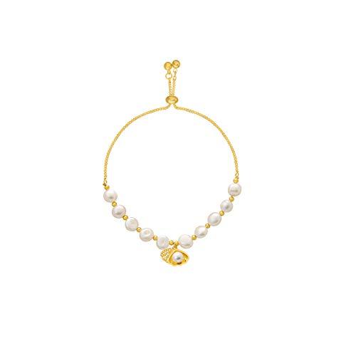 Pulsera de perlas cultivadas de agua dulce, pulsera de oro de 14 quilates con cadena ajustable, regalo de joyería para señora, esposa, niña, madre