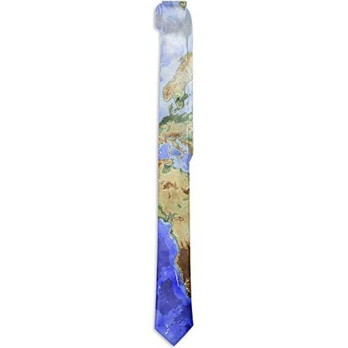 Corbatas para hombre Accesorio para disfraz Mapa del mundo Ocean Sea Blue Corbata S Moda Seda Corbata S Novedad Corbata S Para hombres Adolescentes Niños