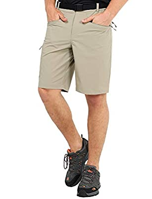 MIER Men's Quick Dry Cargo Shorts Lightweight Stretch Travel Hiking Shorts with 5 Zipper Pockets, Water Resistant, Rock Grey, 34