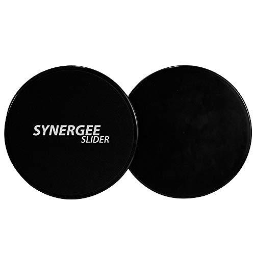 Synergee Jet Black Core Sliders. Dual Sided Use on Carpet or Hardwood Floors. Abdominal Exercise Equipment
