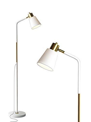 Floor Lamp, Industrial Floor Lamps for Living Rooms & Bedrooms - Rustic Farmhouse Reading Lamp - Standing, Adjustable Metal Heads Indoor Task Lighting for Living Room Bedroom Office Home Décor (White)