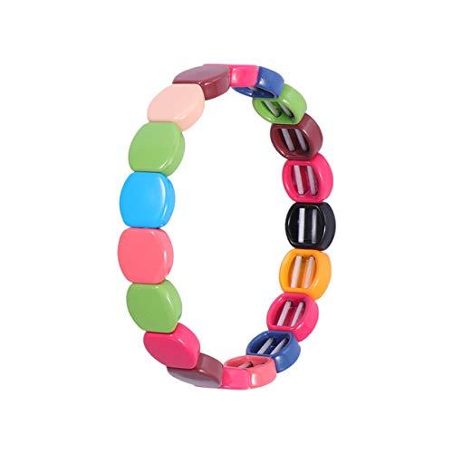 Exceart Regenbogen Armband Bunte Armband Fliesen Emaille Armband Rechteck Armband Perle Fliesen Armbänder für Frauen Männer Farbe 1