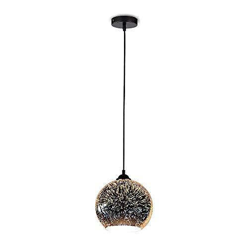V-TAC VT-7256 LED colgante luz titular con lámpara de vidrio 3D y toldo de metal negro mate D: 250 mm, E27