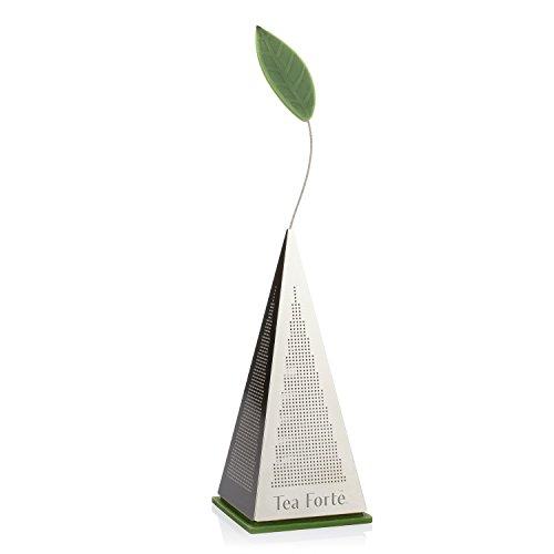 Teesieb ICON von Tea Forté aus Edelstahl, zum Aufgießen von Losem Tee, Extrafeines Sieb mit Zierblatt und Basis aus Silikon