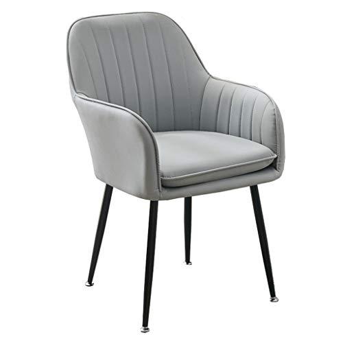 SN Leder-Sessel Accent Stuhl Gepolsterter Esszimmerstuhl Küche Wohnzimmer Sessel Mit Weichen Kissen Make-up Hocker Luxus (Color : Gray, Size : 1pcs)