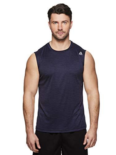 Reebok Men's Muscle Tank Top - Sleeveless Workout & Training Activewear Gym Shirt - Charger Navy Heather, Large