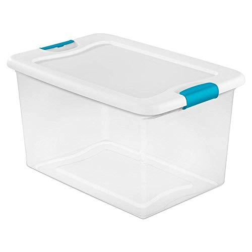 Sterilite 64 Quart Latching Plastic Storage Box Clear wBlue Latches 12 Pack