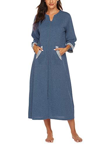 Ekouaer Sleepwear Women Zipper Robe Full Length Housecoat With Pockets Loungewear Soft Bathrobe
