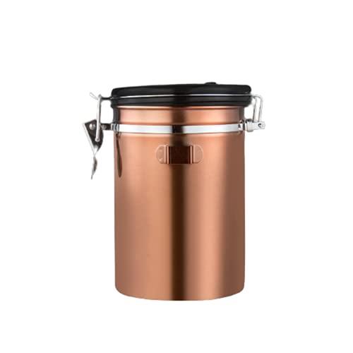 Tanque de café de Acero Inoxidable Sellado con rastreador de válvula de Escape unidireccional Tanque de Almacenamiento de contenedor de Granos de café (1800 ML),Gold