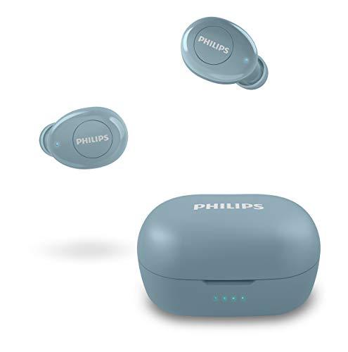 Philips Auriculares Intrauditivos Inalámbricos T2205BL/00 (In-Ear Bluetooth, Asistente De Voz, Larga Autonomía, Protección contra Salpicaduras IPX4, Cargador Compacto) Azul - Modelo de 2020/2021