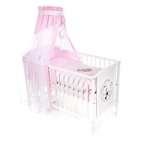 Niuxen BA-04 Baby Bett Kinderbett 120x60 höhenverstellbar Bettset Mond Bär (rosa)