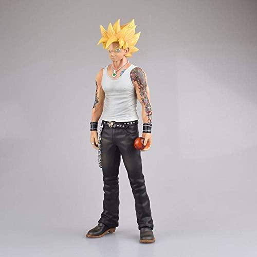 Personajes de Anime Modelo Figura Dragón Ball Z Super Saiyan Son Goku Figurine Tattoo PVC Figura de acción DBZ Goku Statuette Collection Doll 29.5cm