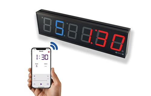 """GymNext Flex Timer - Home Edition - Bluetooth App-Controlled LED Interval Timer with Medium 2.3"""" Digits for Crossfit, Tabata, HIIT, EMOM, MMA, Boxing, Interval Training, Circuit Training, and More"""