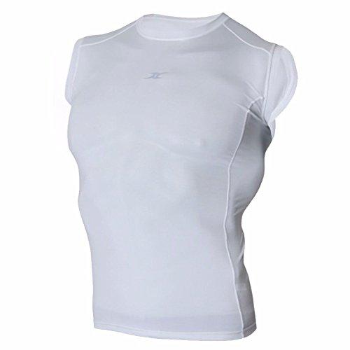 Compression sans Manches pour Hommes Haut Couche de Base T Chemises pour Sport Course à Pied nm - Blanc - XX-Large