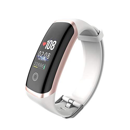 HEMOBLLO Reloj Inteligente M4 Pulsera Inteligente Gimnasio Rastreador de oxígeno en la Sangre Monitor de Banda Inteligente Pulsera Deportiva a Prueba de Agua (Dorada y Blanca)
