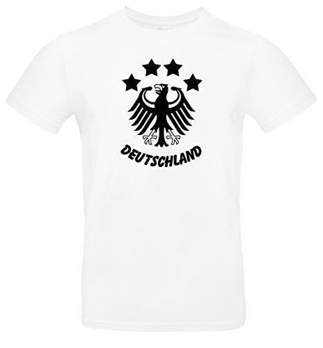 T-Shirt Herren WM Shirt Deutschland Fussball 4 Sterne und Bundesadler Deutschland Schriftzug Germany 2018, T-Shirt, Grösse XXXXL, weiß