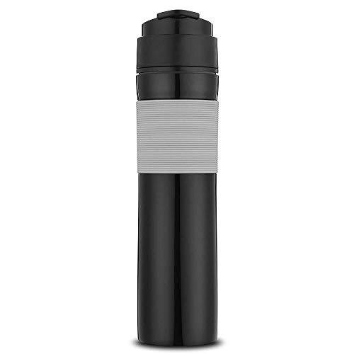Lcjtaifu Kaffeekanne 300ml Tragbare French Press Kaffeemaschine Vakuumisolierter Reisebecher (Color : Schwarz)