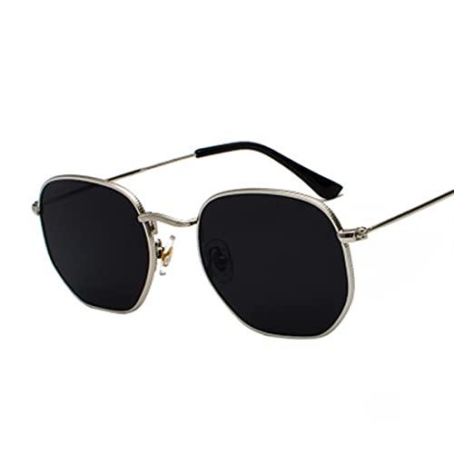 2021 Smilla Cuadrada Hexágono Gafas De Sol Manning Mujer Metal Marco De Pesca Gafas De Oro Grajos Gris Lentes De Sol Hombre (Lenses Color : PG gold gray)