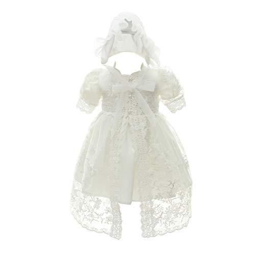 Zhhlinyuan Bébé Filles Robe de Princesse Robe de Anniversaire Mariage Robe Formelles - 0-24 Mois Nouveau-née Dentelle Satin Robes de Baptême