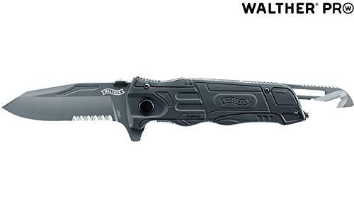 Walther Uni Messer schwarz PRO Klappmesser Rescue Knife, Mehrfarbig, M