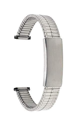 Bandini 14mm Silber Ton Edelstahl Stretch Uhrenarmband für Damen - Gerades Ende - Verstellbare Länge Uhrenarmband, Ersatzband Metall-Dehnungsarmband für Uhren - Keine Schließe