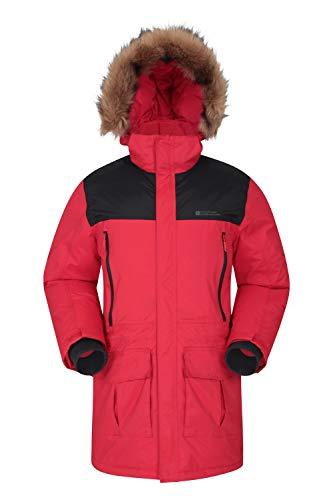 Mountain Warehouse Antarctic Extreme Daunenjacke für Herren - Winterjacke. Verstellbar, wasserfest, schnelltrocknend, atmungsaktiv Dunkelrot Large