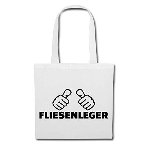 Tasche Umhängetasche Fliesenleger - Handwerker - Fliesen - FLIESENKLEBER - BODENFLIESEN Einkaufstasche Schulbeutel Turnbeutel in Weiß