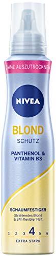 NIVEA Blond Schutz Schaumfestiger Extra Stark (150 ml), pflegender Haarschaum mit Panthenol & Vitamin B3, Volumenschaum für blonde Strahlkraft & 24h Halt